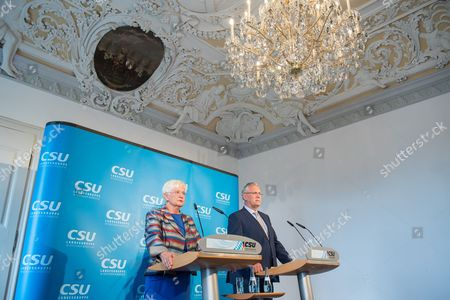 Gerda Hasselfeldt, chairwoman of the German Christian Social Union (CSU) party's parliamentary group, and Bavarian Minister of the Interior Joachim Herrmann speak to the media during a press conference after the CSU party meeting at the Banz monastery near Bad Staffelstein, Germany, 11 July 2017. The CSU parliamentary group holds its party meeting at the Banz Monastery from 10 to 11 July.