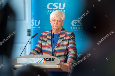 Gerda Hasselfeldt, chairwoman of the German Christian Social Union (CSU) party's parliamentary group, speaks to the media during a press conference after the CSU party meeting at the Banz monastery near Bad Staffelstein, Germany, 11 July 2017.  The CSU parliamentary group holds its party meeting at the Banz Monastery from 10 to 11 July.