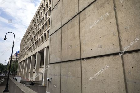 Exposed holes in the exterior concrete, from a time when the building was apparently to be clad in granite, at the J. Edgar Hoover Building, headquarters of the Federal Bureau Of Investigation (FBI), in Washington, DC, USA, 11 July 2017. After years of trying, federal officials are canceling plans to relocate FBI headquarters to the DC suburbs due to lack of federal funding, media reported.