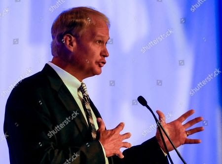 Stock Picture of Steve Shaw, Coordinator of NCAA college football officials, speaks during the Southeastern Conference's annual media gathering, in Hoover, Ala