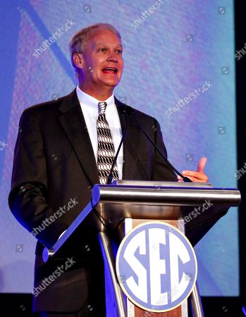 Steve Shaw, Coordinator of NCAA college football officials, speaks during the Southeastern Conference's annual media gathering, in Hoover, Ala