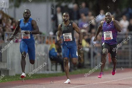 Stock Picture of Nickel Ashmeade from Jamaica, Warren Weir from Jamaica and Alex Wilson from Switzerland during the Men 200m race at the International Athletics Meeting in Lucerne, Switzerland, Tuesday, July 11, 2017.