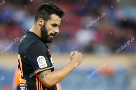 Valencia FC's Alvaro Negredo celebrates his goal during a friendly soccer match between FC Lausanne-Sport from Switzerland and Valencia FC from Spain, at the Stade Olympique de la Pontaise, in Lausanne, Switzerland, Tuesday July 11, 2017.
