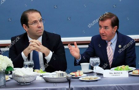 Ed Royce, Youssef Chahed House Foreign Affairs Committee Chairman Ed Royce, right, introduces Tunisian President Youssef Chahed during their meeting on Capitol Hill in Washington