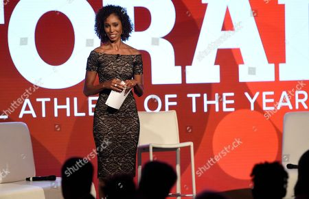 Stock Image of Sage Steele speaks at the 15th annual High School Athlete of the Year Awards at the Ritz-Carlton hotel, in Marina del Rey, Calif