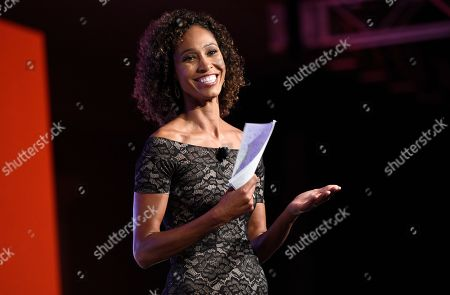 Sage Steele speaks at the 15th annual High School Athlete of the Year Awards at the Ritz-Carlton hotel, in Marina del Rey, Calif
