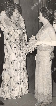 Dame Flora Robson With Queen Elizabeth II After The Charity Palladium Variety Show To Celebrate The Army Benevolent Fund's 25th Anniversary. The Performance Of Fall In The Stars Was The Fifth Of A Series Of Two-yearly Events Sponsored By The Variety Club Of Great Britain In Aid Of The Fund. 14.4.69