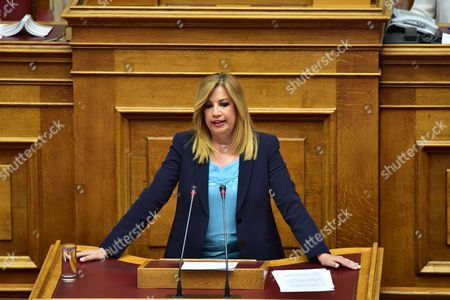 Fofi Gennimata, leader of Democratic Coalition, during her speech in the Hellenic Parliament concerning the issue of Cyprus