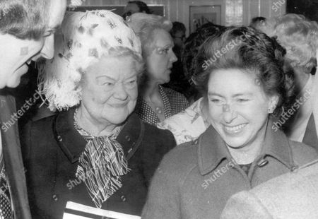 Princess Margaret Shares A Joke With The 'dragon' Of Coronation Street Violet Carson (dead) Who Plays Ena Sharples In The Television Series. The Two Where Pictured Together At Manchester Ragged School In Sharp Street As The Princess Carried Out A Number Of Arrangements. Princess Margaret Met The Stars Of Coronation Street Yesterday And Told Them She Had Never Seen The Show. 'i'm Afraid 7.30pm Is Not Really My Viewing Time ' She Confessed To Violet Carson Bernard Youens Peter Adamson And Eileen Derbyshire. The Princess Met Them At The Sharp Street Ragged School In Manchester Of Which Miss Carson Is President. She Unveiled A Plaque To Commemorate The 125th Anniversary Of The Establishment Which Is Now A Sunday School And Youth Centre. Peter Adamson Who Plays Len Said: 'i Told The Princess That She Missed A Lot Of Fun Not Seeing The Show And That Her Neice Princess Anne Was A Viewer.' ...royalty