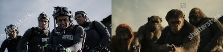 L-r, Karin Konoval, Terry Notary, Andy Serkis and Michael Adamthwaite on set