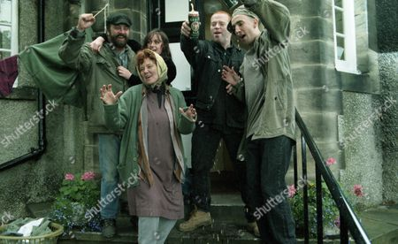 With the villagers sick of the Dingle behaviour at the village hall, they urge Frank Tate to talk to the Dingles and sort out the situation. He meets Zak and gives him the good news, with the Dingles celebrate claiming victory. They do not hear Frank insisting that they must have a tenancy agreement - With Tina Dingle, as played by Jacqueline Pirie ; Sam Dingle, as played by James Hooton ; Butch Dingle, as played by Paul Loughran ; Zak Dingle, as played by Steve Halliwell ; Nellie Dingle, as played by Sandra Gough. (Ep 2024 - 7th November 1995).