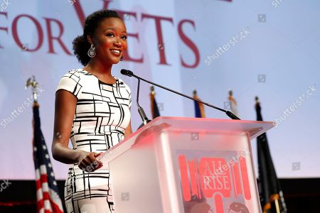 U.S. Army Captain and former Miss USA Deshauna Barber speaks about her support for veterans treatment courts at the 2017 NADCP Training Conference Closing Ceremony at the Gaylord National Resort and Convention Center on in Oxon Hill, Md