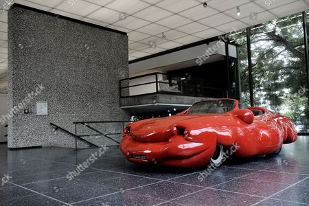 A Porsche sculpture, titled 'Fat Convertible', by Austrian artist Erwin Wurm is on display at the Lehmbruck Museum in Duisburg, Germany, 12 July 2017. In a joint exhibition, the Lehmbruck Museum and the MKM Museum Kueppersmuehle are presenting artworks by Wurm until respectively 29 October and 03 September 2017.