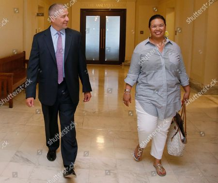 Newly elected Oklahoma state Senator Michael Brooks walks with his wife, Jessica Martinez-Brooks, right, during a tour of the state Capitol in Oklahoma City, . Brooks won his Senate seat in a special election Tuesday, July 11, 2017, held to fill the Senate district 44 seat vacated when Senator Ralph Shortey resigned