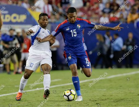 Erick Davis, Bryan García Panama's Erick Davis (15) moves the ball past Nicaragua's Bryan García (13) during a CONCACAF Gold Cup soccer match, in Tampa, Fla. Panama won 2-1