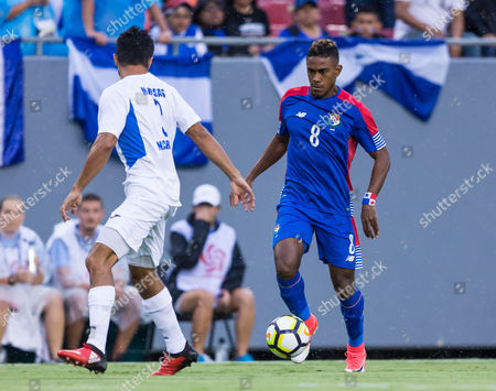 Panama midfielder Edgar Yoel Barcenas (8) n action in a Group B match during the CONCACAF Gold Cup game between the Panama National Team and the Nicaragua National Team at Raymond James Stadium, Tampa, Florida, USA