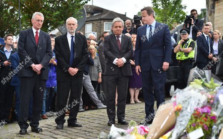 (l To R) Hillary Benn Lab Party Leader Jeremy Corbyn MP Speaker John Bercow And PM David Cameron Lay Flowers Near The Scene Of The Attack In Birstall West Yorkshire Where Jo Cox MP Was Killed.-17/6/16.