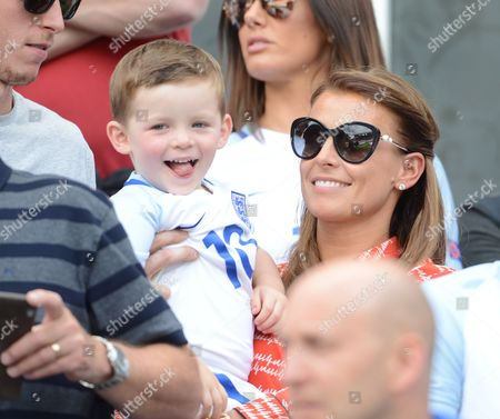 Klay Rooney With His Mother Coleen Watch The England V Wales Match At The Stade Bollaert-delelis Lens France.