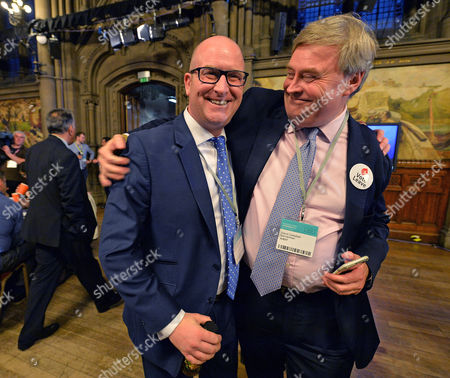 Editorial photo of European Union Referendum Result. -(l To R) Ukip Deputy Leader Paul Nuttall And David Campbell Bannerman At Manchester Town Hall Where The Nations Decision On Whether To Remain Or Leave The European Union Will Be Announced.