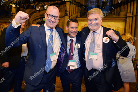 Editorial image of European Union Referendum Result. -(l To R) Ukip Deputy Leader Paul Nuttall Steven Woolfe And David Campbell Bannerman At Manchester Town Hall Where The Nations Decision On Whether To Remain Or Leave The European Union Will Be Announced.