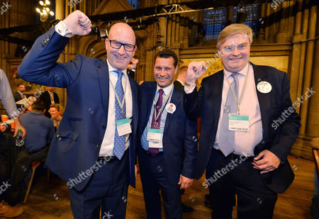 European Union Referendum Result. -(l To R) Ukip Deputy Leader Paul Nuttall Steven Woolfe And David Campbell Bannerman At Manchester Town Hall Where The Nations Decision On Whether To Remain Or Leave The European Union Will Be Announced.