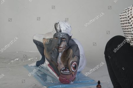 Stock Image of Josef Craig Paralympian Swimmer Painted Animal Series For The Rio Olympics. Pics Show Josef Painted As A Piranha. Paralympian Swimmer Josef Craig Painted Animal Series For The Rio Olympics: Josef Painted As A Piranha