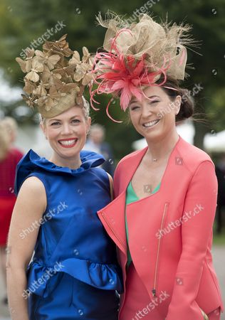 Stock Image of Goodwood's Preferred Milliners Layla Leigh Milliners Charlie Elmy-britton And Leigh Johnson (right) Arrive At Glorious Goodwood West Sussex ... Picture Murray Sanders Daily Mail.