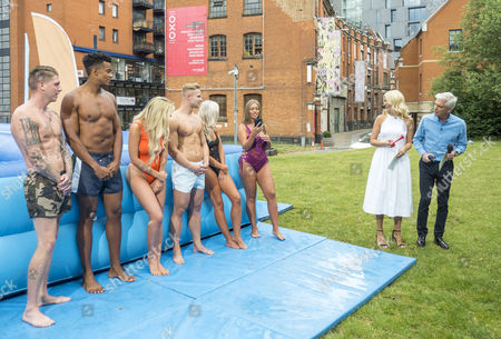 The Love Islanders Take On The This Morning Waterslide Challenge - Danielle Sellers, Chyna Ellis, Tyne-Lexy Clarson, Chloe Crowhurst, Nathan Joseph, Harley Judge, Craig Lawson, Simon Searles, Phillip Schofield and Holly Willoughby