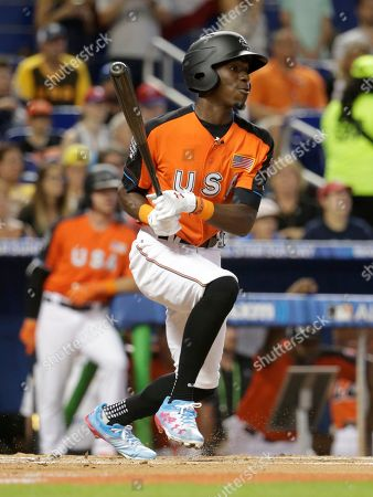 Minnesota Twins and the U.S. Team's Nick Gordon bats during the first inning of the All-Star Futures baseball game against the World Team, in Miami