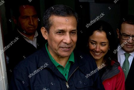 Ollanta Humala, Nadine Heredia Peru's former President Ollanta Humala and his wife Nadine Heredia stop to talk with journalists as they leave the headquarters of Peru's National Party where they met with their lawyers, in Lima, . Prosecutors in Peru have requested the arrest of the former leader who governed Peru between 2011 and 2016 and his wife on money laundering and conspiracy charges tied to a corruption scandal involving Brazilian construction giant Odebrecht
