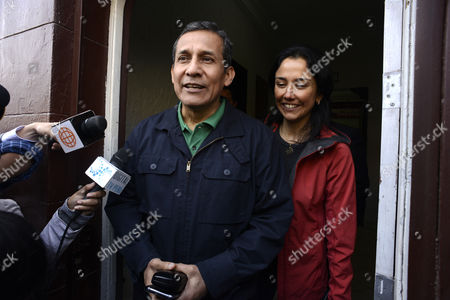 Former Peruvian President Ollanta Humala (L) and his wife Nadine Heredia (R) leave the headquarters of the Nationalist Peruvian Party in Lima, Peru, 13 July 2017. Justice Richard Concepcion Carhuancho is expected to issue a decision on the detention of former Peruvian President Ollanta Humala and his wife, Nadine Heredia, ahead of their trial for alleged bribery in the 2011 election campaign in the Odebrecht case on 13 July.