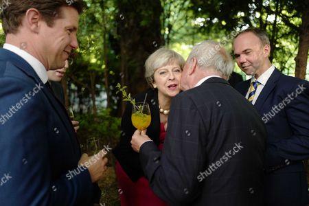 Fraser Nelson, Theresa May, Gyles Brandreth and Gavin Barwell