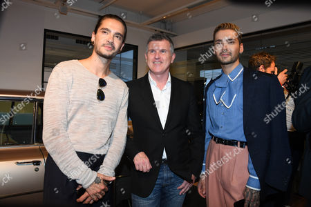Bill and Tom Kaulitz (Tokio Hotel) and Patrick Moore (Director of the Andy Warhol Museum),..