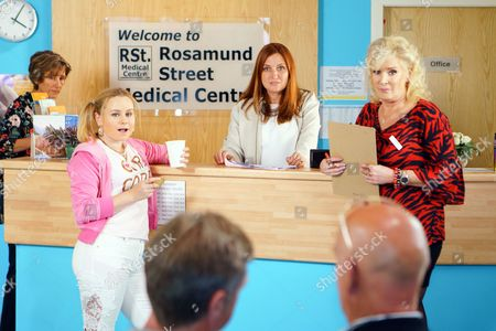 Stock Image of Liz McDonald, as played by Beverley Callard, is finding it hard at the medical centre as Moira's, as played by Louisa Patikas, is making her life a misery. (Ep 9216 - Wed 26 July 2017)