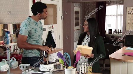 Having revealed that he's dumped his girlfriend, Luke Britton, as played by Dean Fagan, offers to cook dinner for Alya Nazir, as played by Sair Khan. Alya's quietly thrilled but as they sit down to eat they're interrupted by Robert Preston, as played by Tristan Gemmill, who begs Luke to fix Michelle's car window. Alya's disappointed. (Ep 9220 - Mon 31 July 2017)