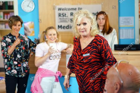 Liz McDonald, as played by Beverley Callard, is finding it hard at the medical centre as Moira's, as played by Louisa Patikas, is making her life a misery. (Ep 9216 - Wed 26 July 2017)