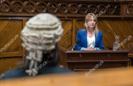 Vanessa, as played by Michelle Hardwick, steps up to give evidence but she's nervous and ends up telling lies but is called out leaving Pierce Harris, as played by Jonathan Wrather, smug and Rhona now worried she's going to lose the case. (Ep 7889 - Wed 26 Jul 2017)