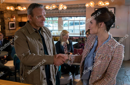 Stock Picture of Chrissie White, as played by Louise Marwood meets Tim, as played by Mark Moraghan, at a restaurant unaware of his identity. (Ep 7879 - Mon 17 Jul 2017)