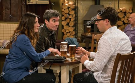 Stock Picture of Harriet, as played by Katherine Dow-Blyton, identifies her attackers while Finn Barton, as played by Joe Gill, worries he and Ross will be dropped in it, while Cain Dingle, as played by Jeff Hordley, is annoyed to learn the attackers have an alibi and worried the police won't bring them to justice, Cain appears to be about to take matters into his own hands. (Ep 7889 - Wed 26 Jul 2017)