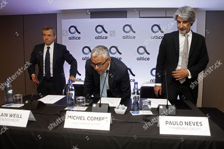 Altice Media CEO Alain Weill (L) accompanied by Altice Group CEO Michel Combes (C) and Portugal Telecom Chairman and CEO Paulo Neves (R) arrive to a press conference on the purchase of Altice on the Media Capital group at the Altis Hotel in Lisbon, Portugal, 14 July 2017. The Altice Group has reached an agreement with Prisa to acquire Portuguese media company Media Capital SGPS, SA, which owns television station TVI, the company said on Friday.