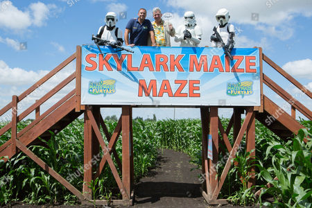 Storm Troopers from the Norwich Starwars Garrison with Tim Rose who plays Admiral Ackbar and Maze Creator Edward Gowler