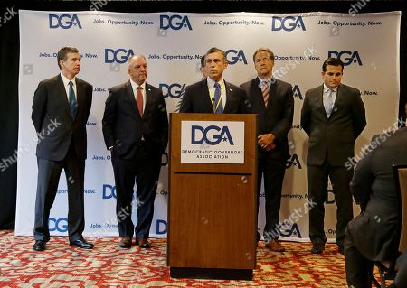 John Carney, Steve Bullock Roy Cooper, John Edwards, Ricardo Rossello Delaware Democratic Gov. John Carney addresses a Democratic Governors joint news conference during the National Governor's Association meeting to highlight the damaging impact they contend the pending Senate healthcare bill would have on their states at the second day of the NGA meeting, in Providence, R.I. North Carolina Gov. Roy Cooper, left to right, Louisiana Gov, John Edwards, Montana Gov. Steve Bullock and Puerto Rico New Progressive Party Gov. Ricardo Rossello look on