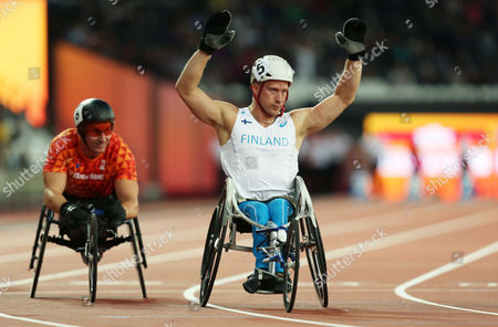 Stock Picture of Leo Pekka Tahti of Finland wins gold in the Mens 100m T54.