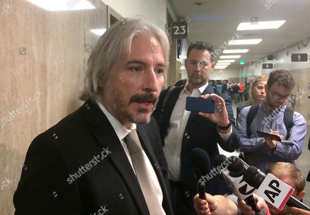 Stock Image of Chief attorney of the San Francisco Public Defender's Office Matt Gonzalez, representing Juan Francisco Lopez-Sanchez, speaks to reporters in San Francisco, . The murder trial of Lopez-Sanchez, who killed Kate Steinle, is inching closer to starting, two years after the fatal shooting set off a fierce immigration debate
