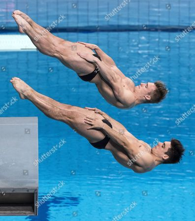 Jack Laugher and Chris Mears of Great Britain compete in the men's diving 3m synchro springboard  final of FINA Swimming World Championships 2017 in Duna Arena in Budapest, Hungary, 15 July 2017.