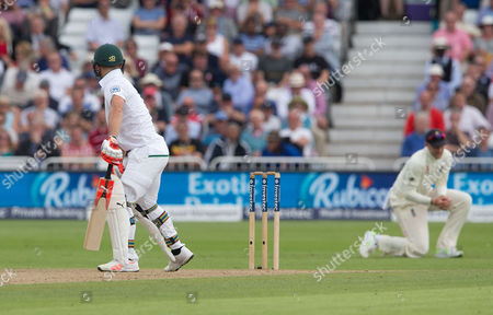 Heinz Georg Kramm Kuhn of South Africa edges England's James Anderson to Joe Root (Captain - Right) out for 8 runs