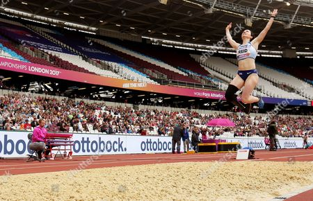 Stef Reid of Great Britain jumps during the Womens Long Jump T44.