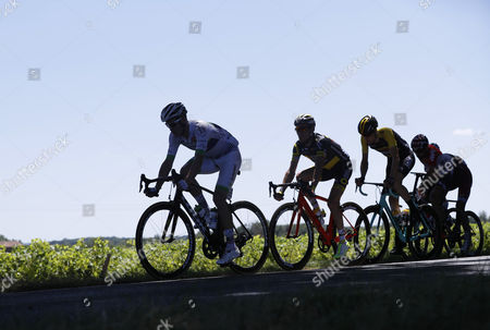 (L-R) Team Fortuneo Oscaro rider Maxime Bouet of France, Direct Energie team rider Thomas Voeckler of France, Team Lotto NL Jumbo rider Timo Roosen of Netherlands, Lotto Soudal team rider Thomas De Gendt of Belgium, Team Katusha Alpecin rider Reto Hollenstein of Switzerland in action during the 14th stage of the 104th edition of the Tour de France cycling race over 181,5km between Blagnac and Rodez, France, 15 July 2017.