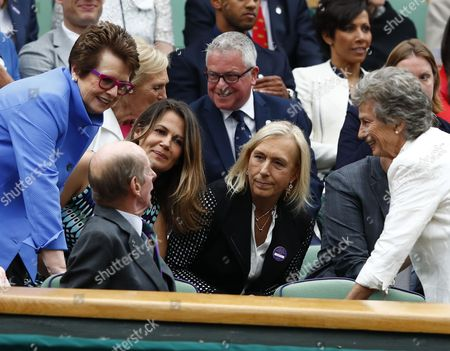 Former Champions Billie Jean King (L), Martina Navratilova (C) and Virginia Wade (R) speak with the Duke of Kent in the Royal Box on Centre Court for the women's final between Garbine Muguruza of Spain and Venus Williams of the US during the Wimbledon Championships at the All England Lawn Tennis Club, in London, Britain, 15 July 2017.
