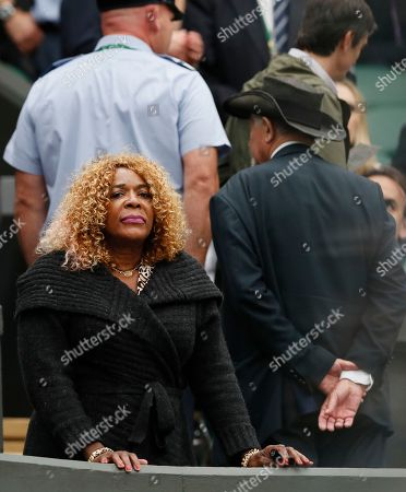 Oracene Price, the mother of Venus Williams of the United States waits for the Women's Singles final match against Spain's Garbine Muguruza on day twelve at the Wimbledon Tennis Championships in London